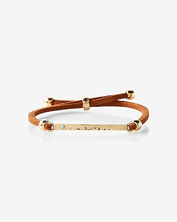 brown and golden pull-through bracelet