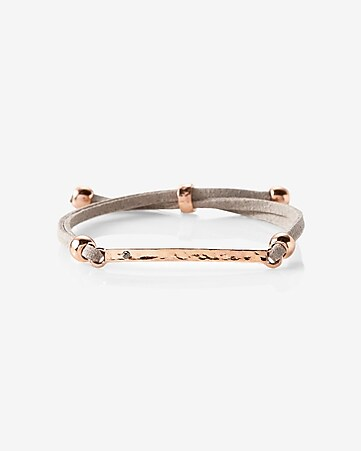 gray and rose gold pull-through bracelet