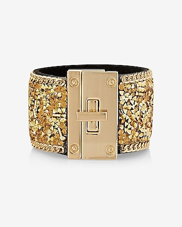 crush beaded turnlock cuff bracelet