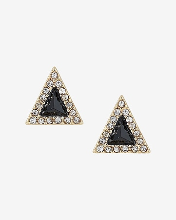 triangle pave and stone post earrings