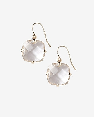Express Womens Faceted Stone Dangle Earrings Gold