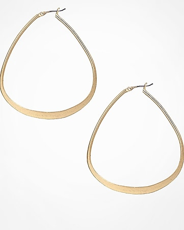triangular metal hoop earrings