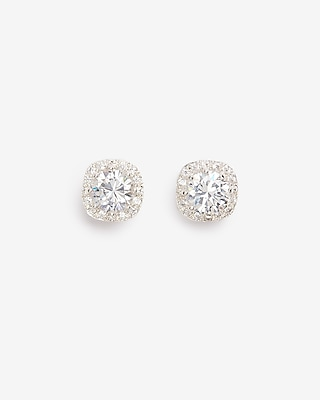 Express Womens Rhinestone And Pave Square Stud Earrings