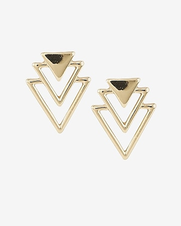 triangle tier post earrings