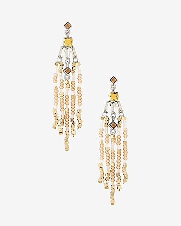 mixed rhinestone and beaded fringe earrings