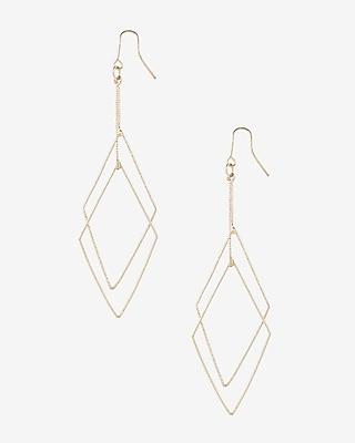 Express Womens Textured Double Diamond Dangle Earrings