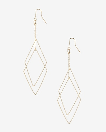 textured double diamond dangle earrings