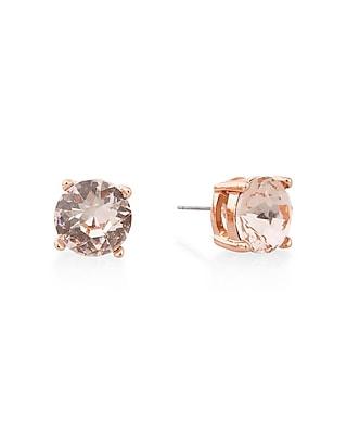 Express Womens Round Rhinestone Post Earrings