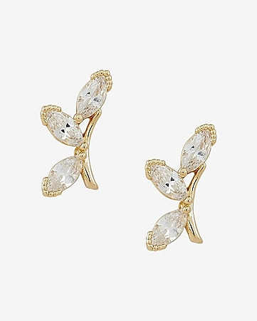 rhinestone vine crawler earrings