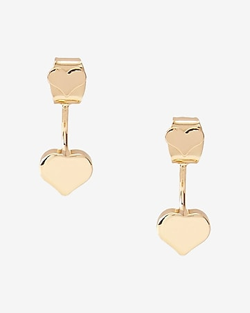 polished metal heart jacket earrings
