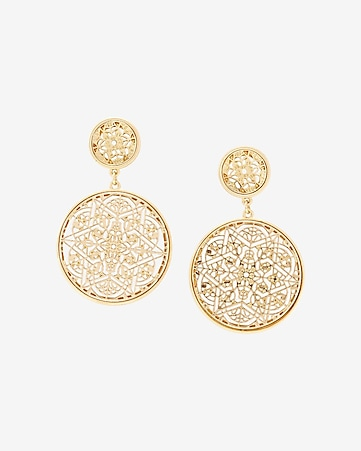 dangling filigree disk earrings