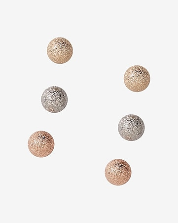 diamond dust ball earring trio