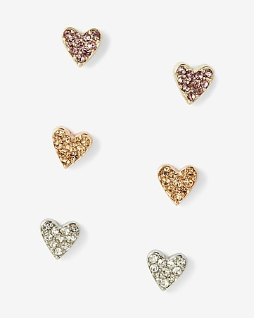 pave heart earring trio
