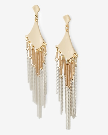 textured metal bead fringe drop earrings