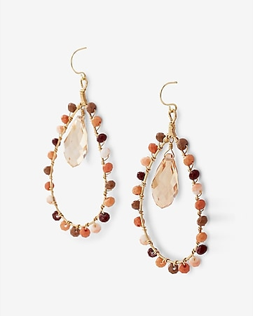 wrapped bead teardrop earrings