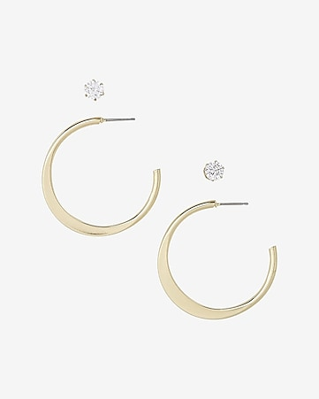 cubic zirconia stud and hoop post back earring set