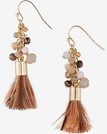 beaded cluster feather tassel earrings