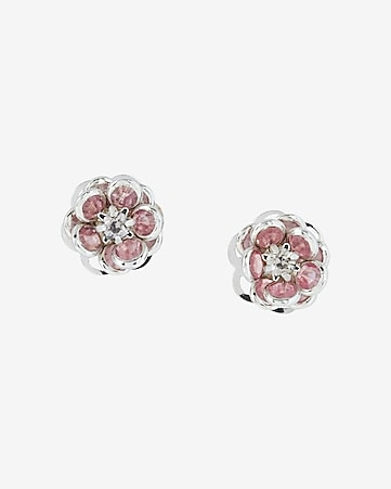 rhinestone flower post earrings
