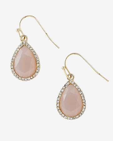 blush teardrop and rhinestone earring