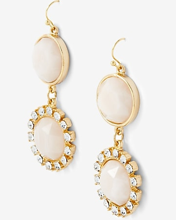double stone and rhinestone  drop earrings