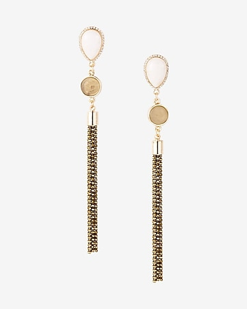 teardrop stone metal fringe earrings