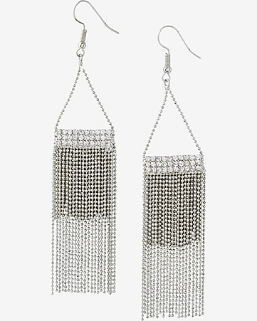 rhinestone and tiered chain fring earrings