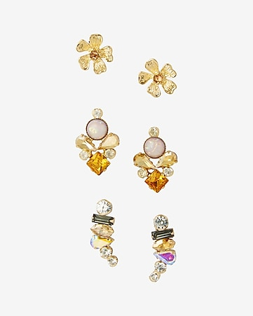 flower stud and crawler earring trio