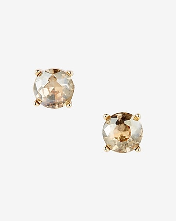 round rhinestone post earrings