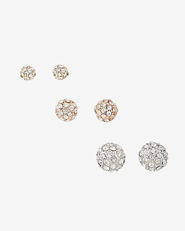 fireball stud earring trio