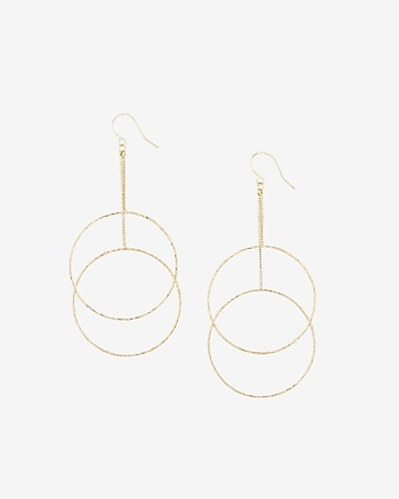 double textured circle drop earrings