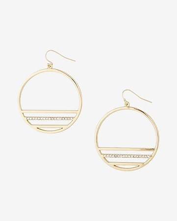 pave cutout circle drop earrings