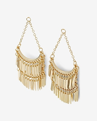 EXPRESS Women's Jewelry Tiered Fringe Chandelier Earrings Gold