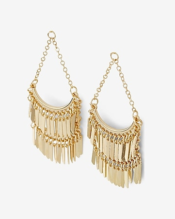 tiered fringe chandelier earrings