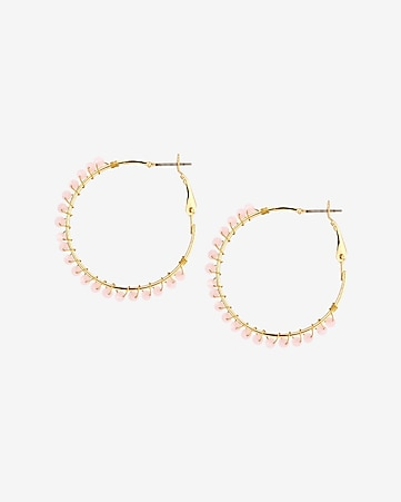 wrapped bead hoop earrings