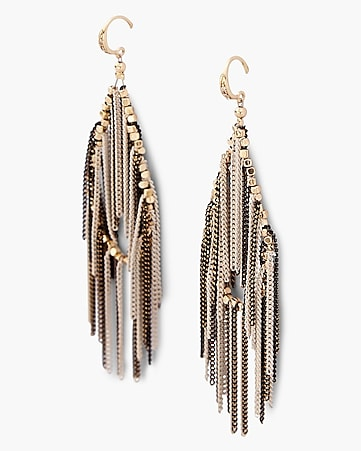 chain fringe teardrop earrings