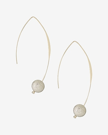 diamond dust ball pull-through earrings