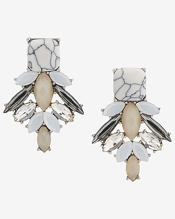 stone cluster earrings