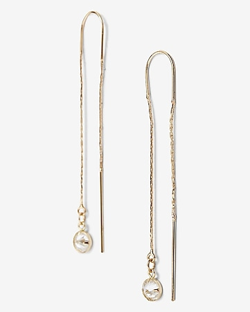 bezel cubic zirconia pull through earring