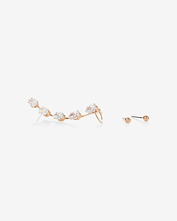 rose gold post earrrings with cubic zirconia cuff