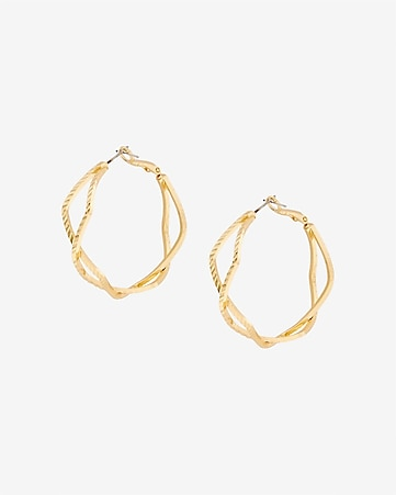 textured crisscross hoop earrings