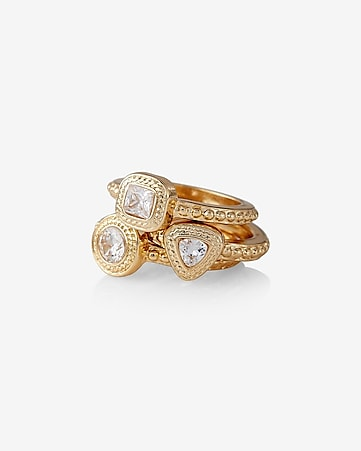 set of three textured cubic zirconia rings