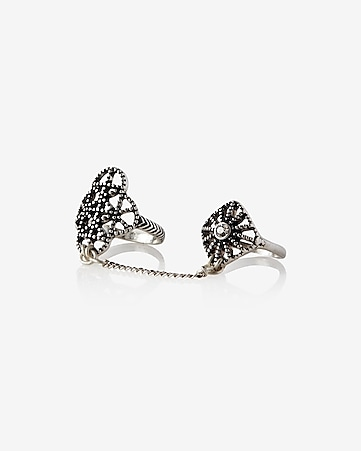 hi-lo connected double filigree ring