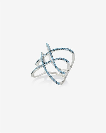 open crisscross pave ring