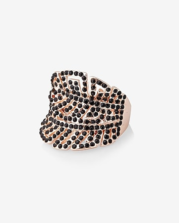 pave double leaf ring