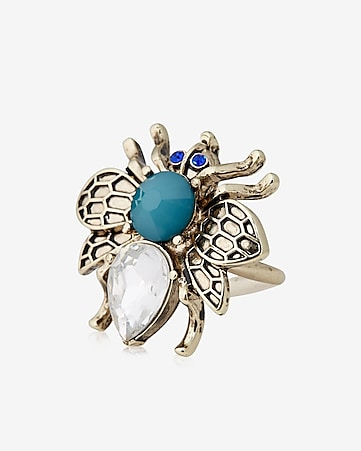 rhinestone bug cocktail ring
