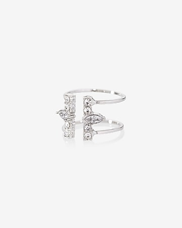 open double rhinestone bar ring