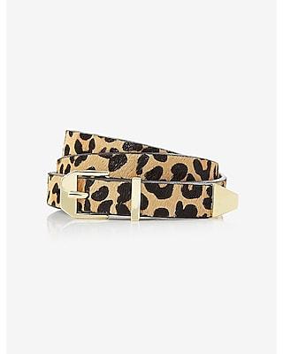 EXPRESS Women's Belts Leopard Print Haircalf Belt