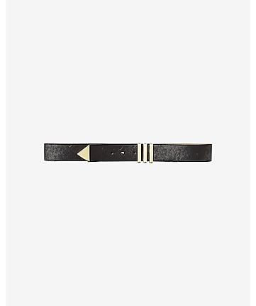 black stitched stretch belt