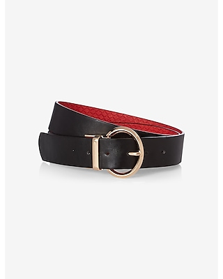 Express Womens Round Buckle Reversible Belt Black Small