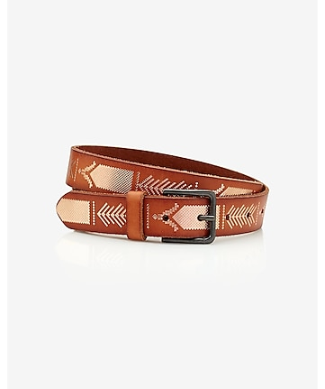 stamped leather buckle belt